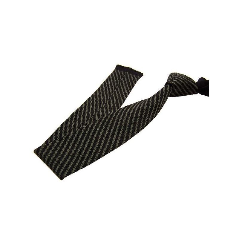 cravate en tricot kaki et noire