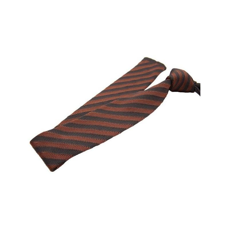 cravate tricot grise et saumon