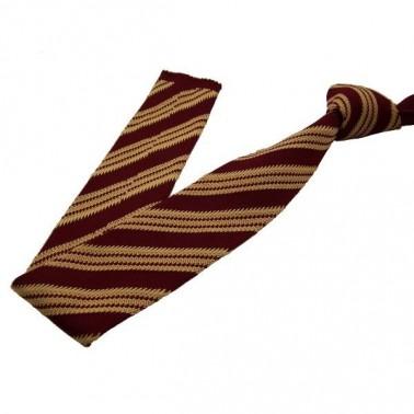 cravate en tricot jaune-paille et lie-de-vin