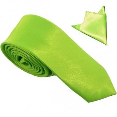 cravate slim verte et sa pochette