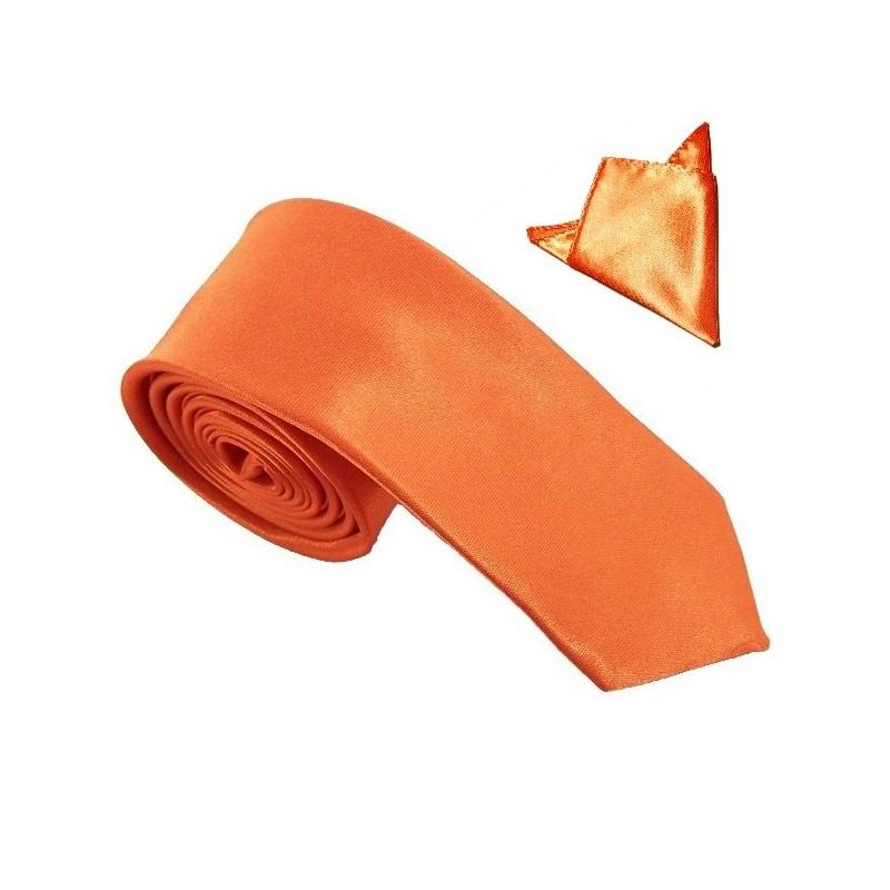 cravate slim orange et sa pochette