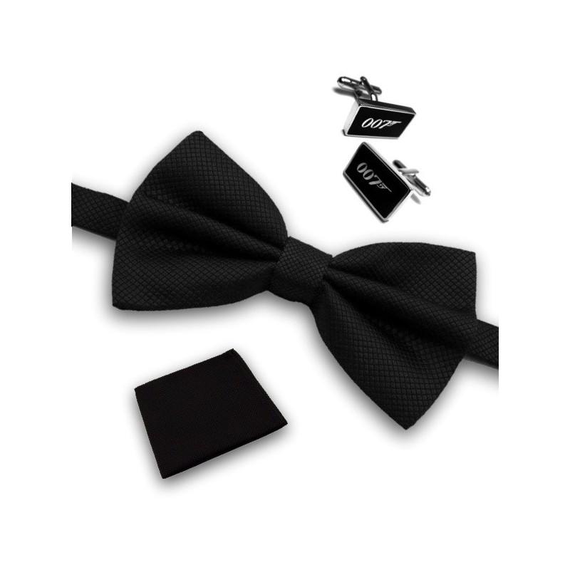 """Ensemble """"James Bond"""" pochette, manchettes et nœud-papillon"""