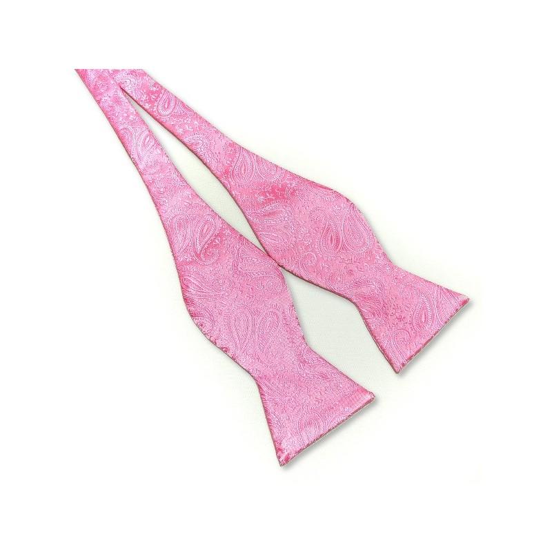 Noeud-papillon à nouer, motifs couleur rose