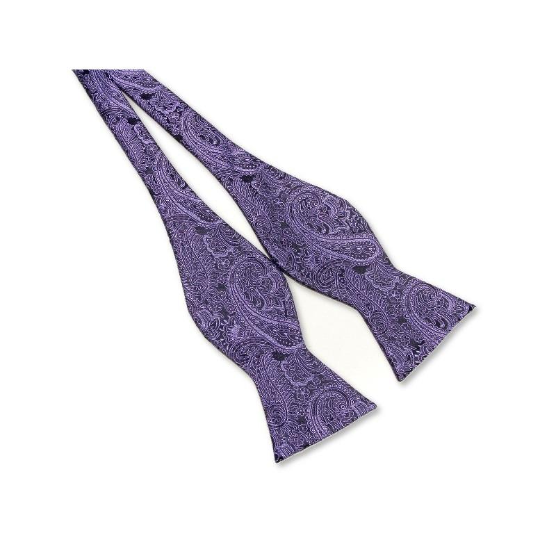 Noeud-papillon à nouer, noir et violet