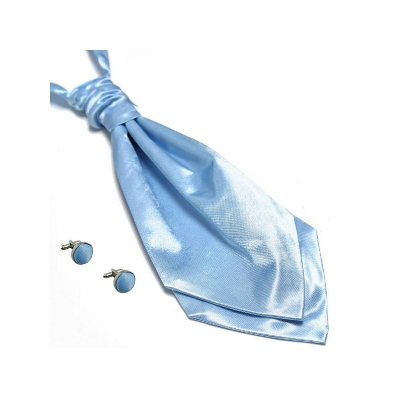 lavallière bleu-ciel et boutons de manchette