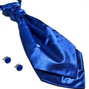 lavallière bleu-roi et boutons de manchette