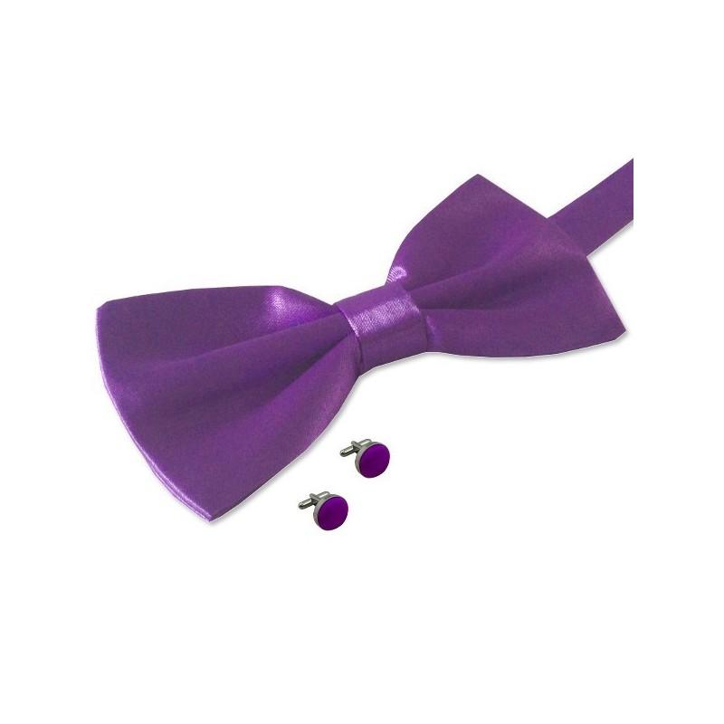 noeud-papillon violet et boutons de manchette