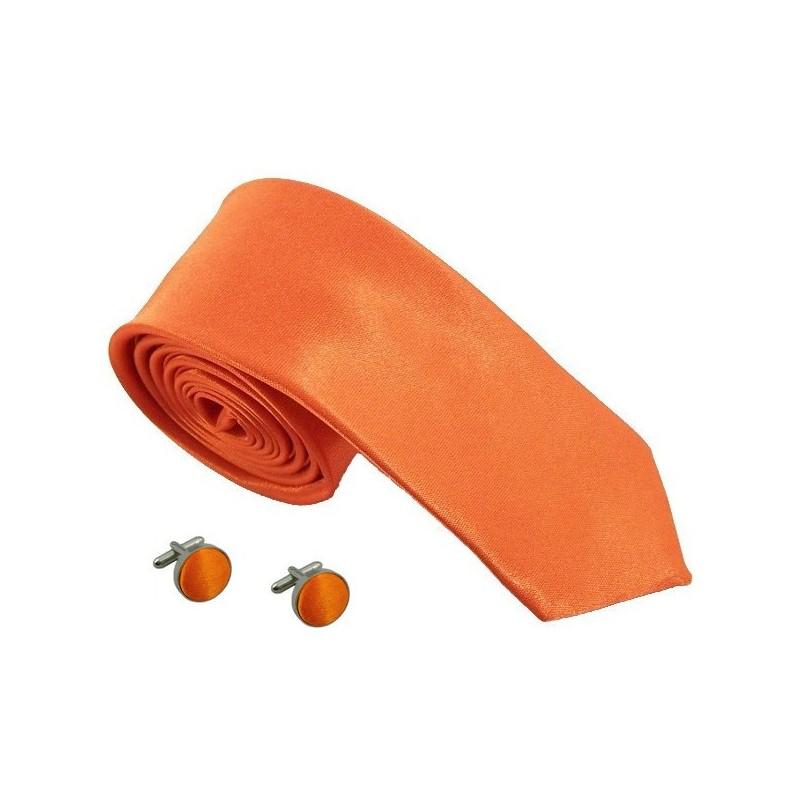 cravate slim orange et boutons de manchette