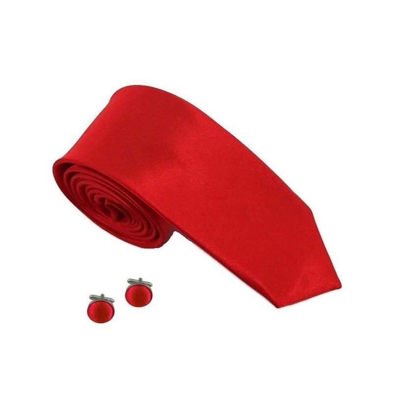 cravate slim rouge et boutons de manchette