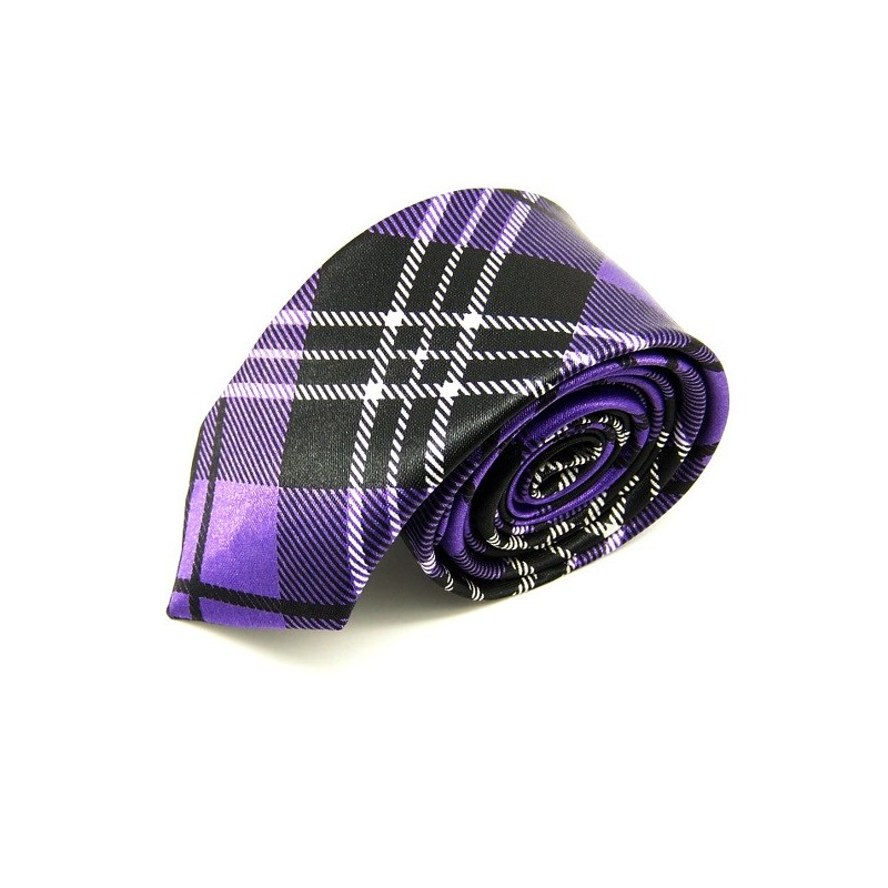 Cravate slim écossaise violette