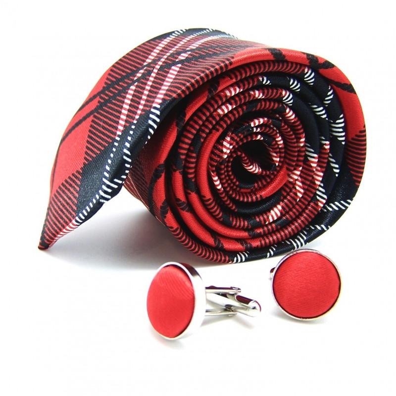 La slim écossaise rouge et ses boutons