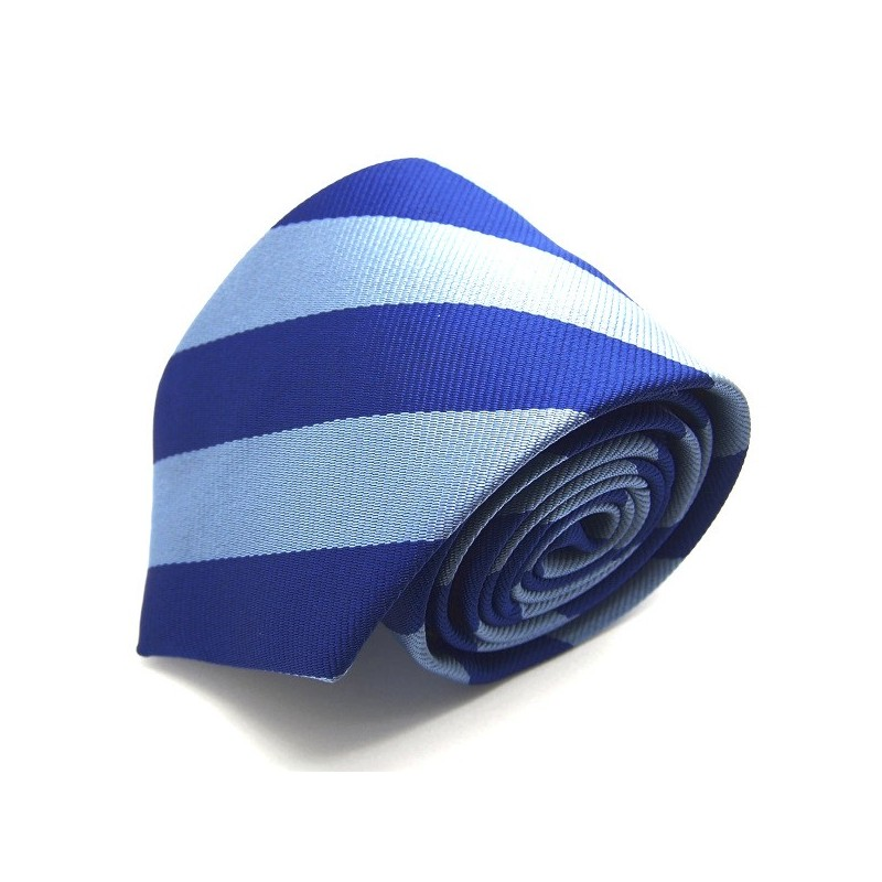 Cravate club marine et bleu-métal, finitions main