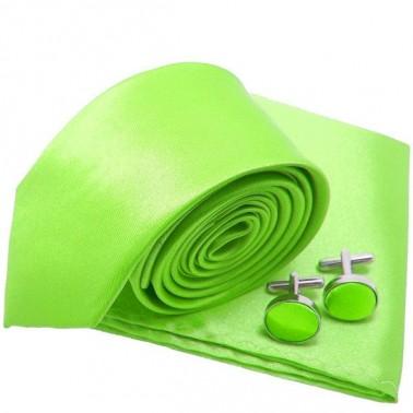 Cravate slim vert-fluo et accessoires