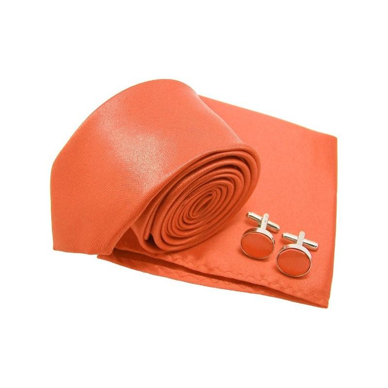 Cravate slim orange et accessoires