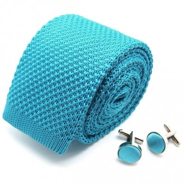 Cravate tricot turquoise et ses boutons