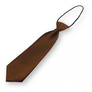 Cravate pour enfant couleur marron-chocolat, finitions main