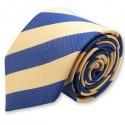 Cravate club bleue et jaune, finitions main