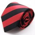 Cravate club rouge et noire, finitions main