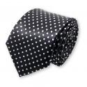 cravate étroite noire à pois blancs