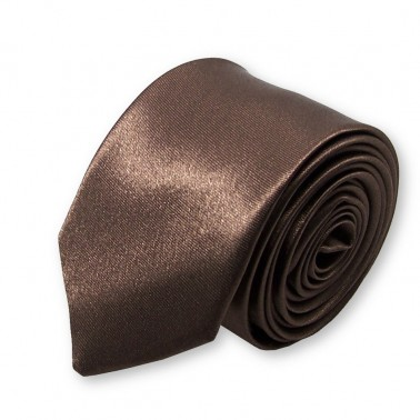 cravate slim marron-chocolat