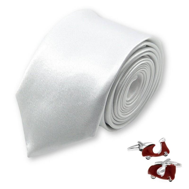 cravate slim blanche et boutons de manchette vespa