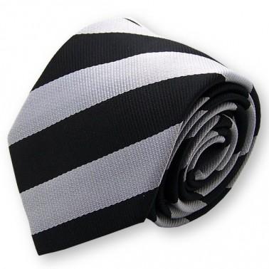 Cravate club noire et argent, finitions main
