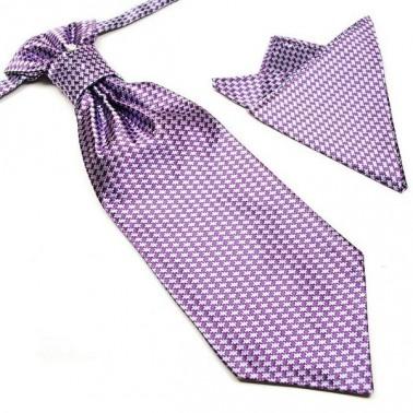 Cravate lavallière mauve-parme + pochette