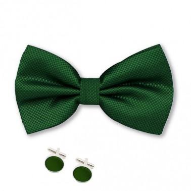 Noeud papillon vert-foncé et boutons de manchette