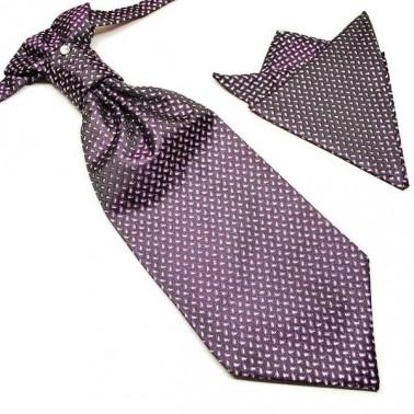 Cravate lavallière violine + pochette