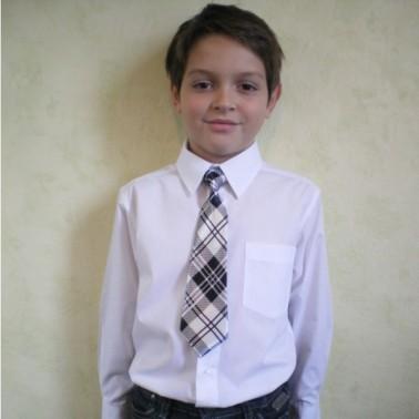Cravate écossaise pour garçon, finitions main