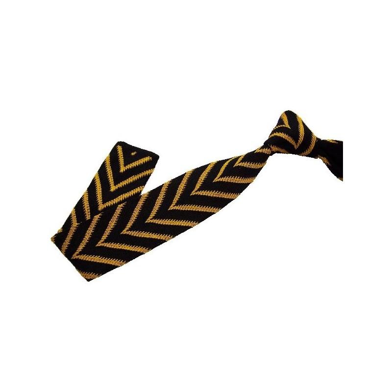 cravate en tricot jaune et noire