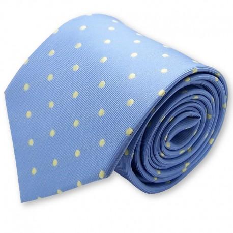 cravate bleu clair à pois jaune
