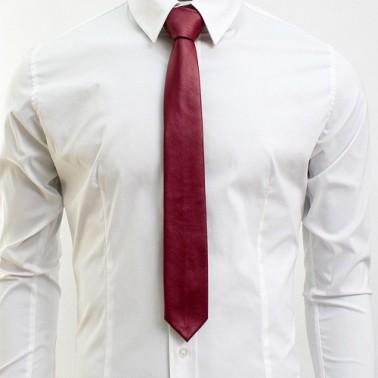Cravate bordeaux imitation cuir