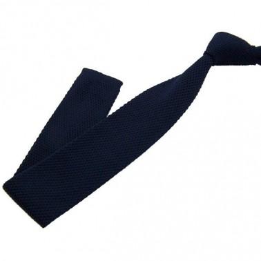 cravate tricot bleu-marine