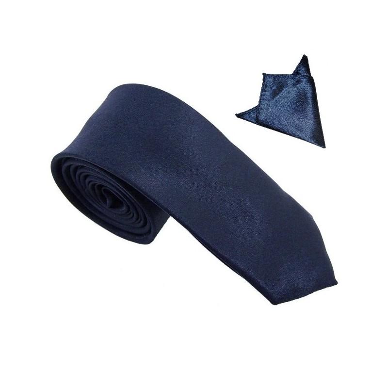 cravate slim bleu-marine et sa pochette