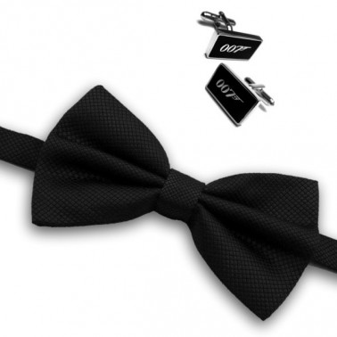 "Coffret noeud papillon ""James Bond"" noir & boutons de manchette"