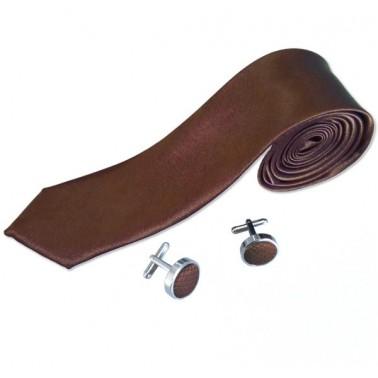 "Cravate slim & Boutons ""Coffee"""
