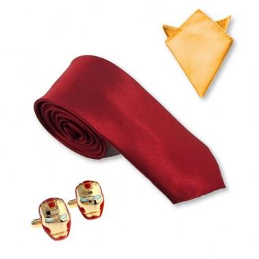 """Cravate, pochette costume et bouton manchette """"Tony Stark"""" Attitude"""