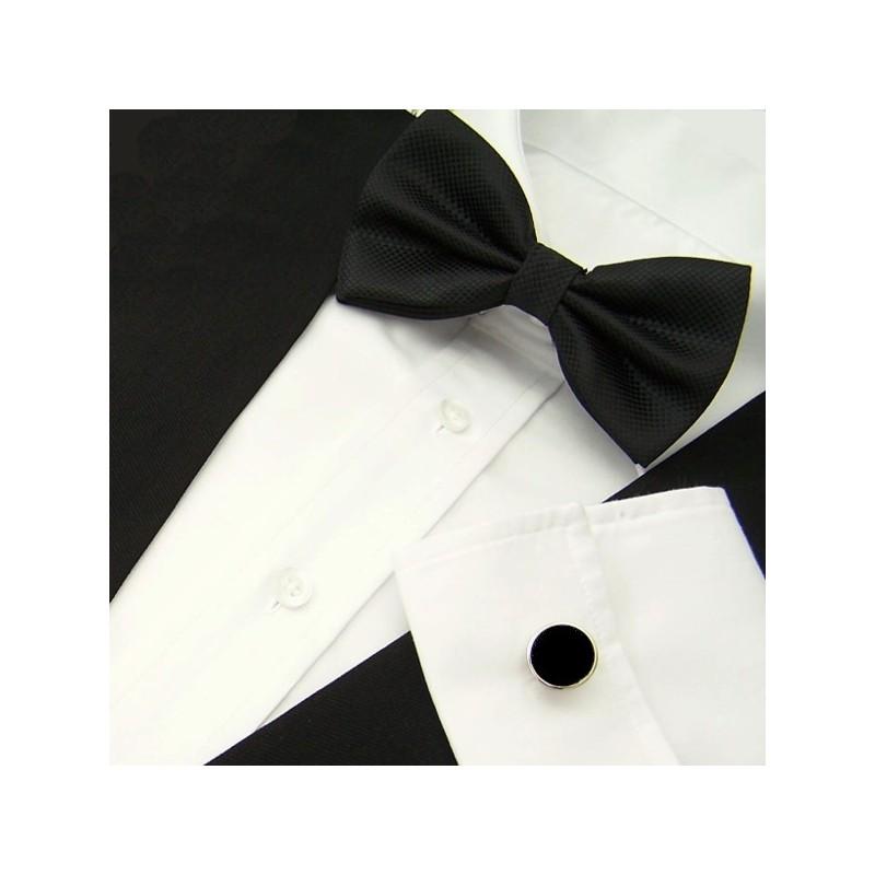 ensemble noeud-papillon noir et boutons de manchette