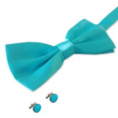 noeud-papillon turquoise et boutons de manchette