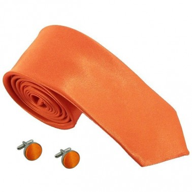 cravate slim orange et boutons de manchette