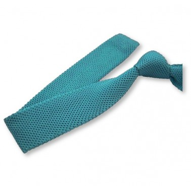 cravate tricot turquoise, finitions main