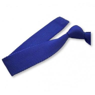 cravate tricot bleu-roi