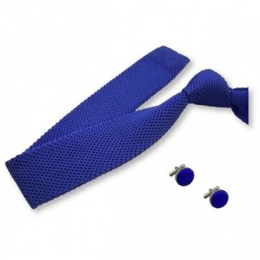cravate tricot bleu-roi et ses boutons, finitions main