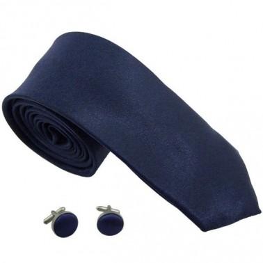 cravate slim bleu-marine et boutons de manchette