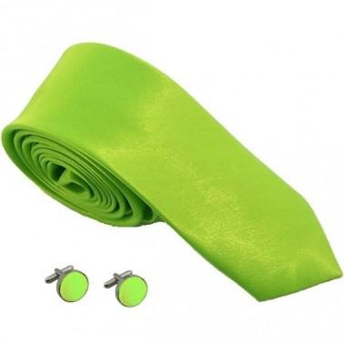 cravate slim vert-intense et boutons de manchette