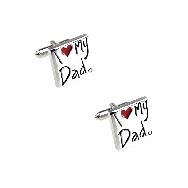 """Boutons de manchette """"je t'aime papa"""""""
