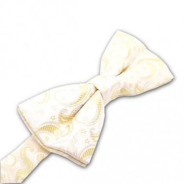 Noeud-papillon jaune-clair à motifs