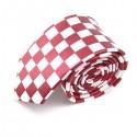 Cravate slim, carreaux blancs et rouges
