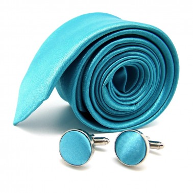 Cravate slim turquoise et ses boutons